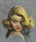 Pin-up and Glamour Art, MARLAND STONE (American d. 1975). Portrait of ConstanceBennett. Pastel on board. 18.5 x 15.5 in.. Signed lower right....