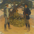 Paintings, HAROLD VON SCHMIDT (American 1893 - 1982). Under the Pinon Tree, magazine story illustration, 1949. Oil on canvas. 30 x ...