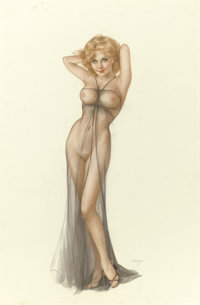 ALBERTO VARGAS (American 1896 - 1982) Vargas Girl, Playboy illustration, April 1976 Watercolor on bo