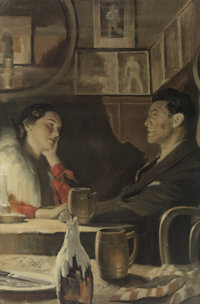 ANDREW LOOMIS (American 1892 - 1959) Table for Two Oil on canvas, mounted on board 36 x 24 in