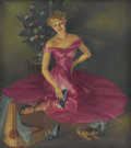 Pin-up and Glamour Art, FOX (American 20th Century). Pink Dress With New Shoes. Oilon canvas. 25.5 x 23 in.. Signed lower left. ...