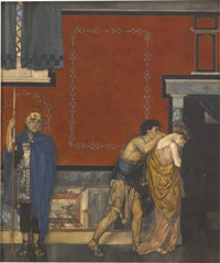 SIR WILLIAM RUSSELL FLINT (English 1880 - 1969) Canterbury Tales, St. Cecilia in Prison, 1912 Waterc