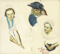 Paintings, NORMAN ROCKWELL (American 1894 - 1978). Martha Washington: A Man's Wife, preliminary study, 1939. Oil and graphite on bo...