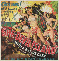"She-Devil Island (First Division, 1936). Six Sheet (81"" X 81"")"