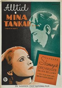 """Ever in My Heart (Warner Brothers, 1933). Swedish One Sheet (27.5"""" X 39.5"""")"""