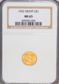 Commemorative Gold: , 1922 G$1 Grant no Star MS65 NGC. NGC Census: (251/319). PCGSPopulation (413/513). Mintage: 5,000. Numismedia Wsl. Price fo...