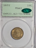 Bust Dimes: , 1832 10C MS62 PCGS. CAC. PCGS Population (27/79). NGC Census: (42/89). Mintage: 522,500. Numismedia Wsl. Price for NGC/PCGS...