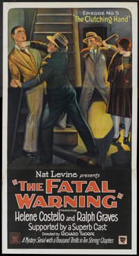 "The Fatal Warning (Mascot, 1929). Three Sheet (41"" X 81"") Chapter 5 -- ""The Clutching Hand"". Mystery..."