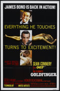 "Movie Posters:James Bond, Goldfinger (United Artists, R-1980). One Sheet (27"" X 41"") andLobby Cards (4) (11"" X 14""). James Bond.. ... (Total: 5 Items)"