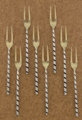 Silver Flatware, American:Other , A SET OF EIGHT AMERICAN SILVER AND SILVER GILT FISH FORKS. TheodoreB. Starr, New York, New York, circa 1890. Marks: THEOD...(Total: 8 Items)