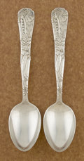 Silver Flatware, American:Tiffany, A PAIR OF AMERICAN SILVER TABLE SPOONS. Tiffany & Co., NewYork, New York, circa 1872. Marks: TIFFANY & CO., STERLING,M... (Total: 2 Items)