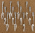 Silver & Vertu:Flatware, A SET OF TWELVE AMERICAN SILVER DINNER FORKS. Tiffany & Co., New York, New York, circa 1890. Marks: TIFFANY & CO., STERLIN... (Total: 12 Items)