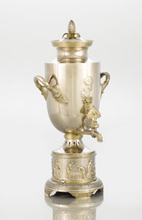 AN AMERICAN SILVER AND SILVER GILT HOT WATER URN Gorham Manufacturing Co., Providence, Rhode Island, 1876 Marks