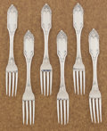 Silver Flatware, American:Other , A SET OF SIX AMERICAN COIN SILVER DESSERT FORKS. Gale & Hayden,New York, New York, circa 1847. Marks: G & H, G&H(in lo... (Total: 6 Items)