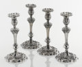 Silver Holloware, British:Holloware, A SET OF FOUR GEORGE III SILVER CANDLESTICKS. John Watson,Sheffield, England, 1816-17. Marks: (lion passant), (crown),(dut... (Total: 4 Items)