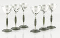 Silver Holloware, American:Cups, A SET OF SIX AMERICAN SILVER AND JADEITE GOBLETS. Lebkuecher & Co., Newark, New Jersey, ca. 1900. Marks: (L on sliver moon),... (Total: 6 Items)