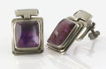 Silver Smalls:Other , A PAIR OF MEXICAN SILVER AND AMETHYST QUARTZ EARRINGS. Fred Davis,Mexico City, Mexico, circa 1935. Marks: FD, SILVER. 1...