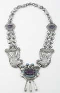 Silver Smalls:Other , A MEXICAN SILVER, TURQUOISE AND AMETHYST QUARTZ NECKLACE . RicardoSalas, Mexico City, Mexico, circa 1960. Marks: Matl, MS...