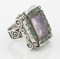 Silver Smalls:Other , A MEXICAN SILVER, TURQUOISE AND AMETHYST QUARTZ RING. Makerunknown, designed in the style of Matl, circa 1960. Marks: unmar...