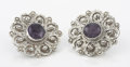 Silver Smalls:Other , A PAIR OF MEXICAN SILVER AND AMETHYST EARRINGS. Ricardo Salas,Mexico City, Mexico, circa 1965. Marks: Matl, MS-12, M.REG1...(Total: 2 Items)