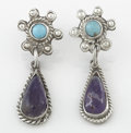 Silver Smalls:Other , A PAIR OF MEXICAN SILVER, TURQUOISE AND AMETHYST EARRINGS. RicardoSalas, Mexico City, Mexico, circa 1965. Marks: Matl, MS...(Total: 2 Items)