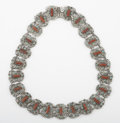 Silver Smalls:Other , A MEXICAN SILVER, CORAL AND TURQUOISE NECKLACE. Ricardo Salas,Mexico City, Mexico, circa 1950. Marks: Matl, MS-12, 925,M...