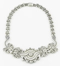 Silver Smalls:Other , A MEXICAN SILVER NECKLACE. Héctor Aguilar, Taxco, Mexico, circa1940. Marks: HA, 990, TAXCO. 17-1/2 inches long (44.5 cm...