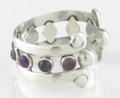 Silver & Vertu:Smalls & Jewelry, A MEXICAN SILVER AND AMETHYST QUARTZ CUFF. Héctor Aguilar, Taxco, Mexico, circa 1945. Marks: HA, STERLING, MADE IN MEXICO...
