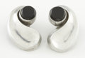 Silver Smalls:Other , A PAIR OF MEXICAN SILVER AND ONYX EARRINGS. Antonio Pineda, Taxco, Mexico, circa 1955. Marks: (Antonio crown), 970, SILVER... (Total: 2 Items)