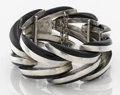 Silver & Vertu:Smalls & Jewelry, A MEXICAN SILVER AND ONYX BRACELET. Antonio Pineda, Taxco, Mexico, circa 1955. Marks: (Antonio crown), 970, HECHO EN MEXIC...