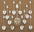 Silver Flatware, American:Gorham, AN AMERICAN SILVER AND SILVER GILT BERRY SERVING SET . GorhamManufacturing Co., Providence, Rhode Island, circa 1870. Marks...(Total: 13 Items)
