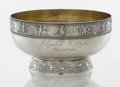 Silver & Vertu:Hollowware, AN AMERICAN SILVER AND SILVER GILT FOOTED BOWL. Gorham Manufacturing Co., Providence, Rhode Island, circa 1880. Marks: (lion...