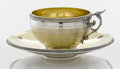 Silver Holloware, American:Coin Silver, AN AMERICAN COIN SILVER AND SILVER GILT TEA CUP AND SAUCER. GorhamManufacturing Co., Providence, Rhode Island, circa 1865. ...(Total: 2 Items)