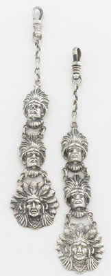A PAIR OF AMERICAN SILVER FOBS Unger Brothers, Newark, New Jersey, circa 1875 Marks: UB, STERLING 925 FINE</