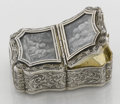 Silver Holloware, Continental:Holloware, A FRENCH SILVER AND SILVER GILT SNUFF BOX WITH PAINTED IVORYMINIATURES. Unknown maker, France, circa 1875. Marks: unmarked...