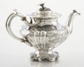 Silver Holloware, American:Tea Pots, AN AMERICAN COIN SILVER TEAPOT. Unidentified maker, circa 1860.Marks: PETERS, A (within effaced mark). 6-3/4 x 11-1/8 x...