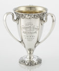 Silver Holloware, American:Loving Cup, AN AMERICAN THREE-HANDLED PRESENTATION LOVING CUP. GorhamManufacturing Co., Providence, Rhode Island, 1907. Marks:(lion-an...