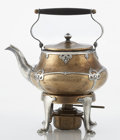 Silver Holloware, American:Tea Pots, AN AMERICAN COPPER AND SILVER TEA KETTLE ON STAND. Makerunidentified, circa 1915. Marks: KRP. 8-1/2 x 7-1/4 x 5-1/4inc... (Total: 3 Items)