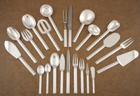 A FRENCH SILVER FLATWARE SERVICE Jean E. Puiforcat, Paris, France, circa 1928 Marks: PUIFORCAT, FRANCE, EP,<