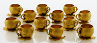 A SET OF TWELVE AMERICAN SILVER GILT PUNCH CUPS Gorham Manufacturing Co., Providence, Rhode Island, 1886 Marks: