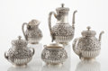 Silver Holloware, American:Tea Sets, AN AMERICAN SILVER FIVE-PIECE COFFEE AND TEA SET. Tiffany &Co., New York, New York, circa 1874. Marks: TIFFANY & CO.,379... (Total: 5 Items)