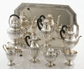 Silver Holloware, American:Tea Sets, AN AMERICAN SILVER SEVEN-PIECE COFFEE, TEA AND CHOCOLATE SET WITHTRAY. Tiffany & Co., New York, New York, circa 1921. Marks...(Total: 8 Items)