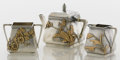 Silver Holloware, American:Tea Sets, AN AMERICAN SILVER AND MIXED METALS THREE-PIECE TEA SET. GorhamManufacturing Co., Providence, Rhode Island, 1880. Marks: (l...(Total: 3 Items)