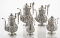Silver Holloware, American:Coin Silver, AN AMERICAN COIN SILVER FIVE-PIECE COFFEE AND TEA SET. Andrew E.Warner, Baltimore, Maryland, circa 1850-1860. Marks: A.E....(Total: 5 Items)