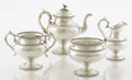 Silver Holloware, American:Tea Sets, AN AMERICAN SILVER FOUR-PIECE TEA SET. Edward C. Moore, New York,New York, circa 1854-1855. Marks: TIFFANY & CO., LATE, T...(Total: 4 Items)
