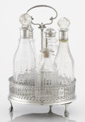 Silver Holloware, British:Holloware, A GEORGE III SILVER CRUET SET. Maker unidentified, London, England,circa 1790. Marks: (lion passant), (leopard's head crown... (Total:6 Items)