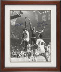 Basketball Collectibles:Others, Bill Russell And Wilt Chamberlain Dual Signed Oversized Photograph....