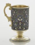 Silver Holloware, Continental:Holloware, A RUSSIAN SILVER GILT AND CLOISONNÉ ENAMEL CUP WITH HANDLE.Maker unknown, circa 1910. Marks: unmarked. 3-1/8 x ...