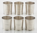 Silver Holloware, American:Cups, A SET OF SIX COIN SILVER JULEP CUPS. William Gale, Son & Co.,New York, New York, 1853. Marks: G.S. & CO. (inlozenge), ... (Total: 6 Items)
