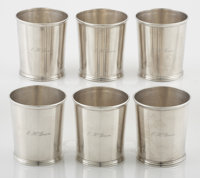 A SET OF SIX COIN SILVER JULEP CUPS William Gale, Son & Co., New York, New York, 1853 Marks: G.S. & CO</...